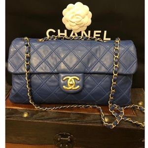 Chanel Blue Classic Bag with GHW,PRICE IS FIRM❌❌